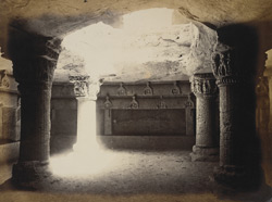 Interior of rock-cut hall in Uparkot (the old citadel), Junagadh
